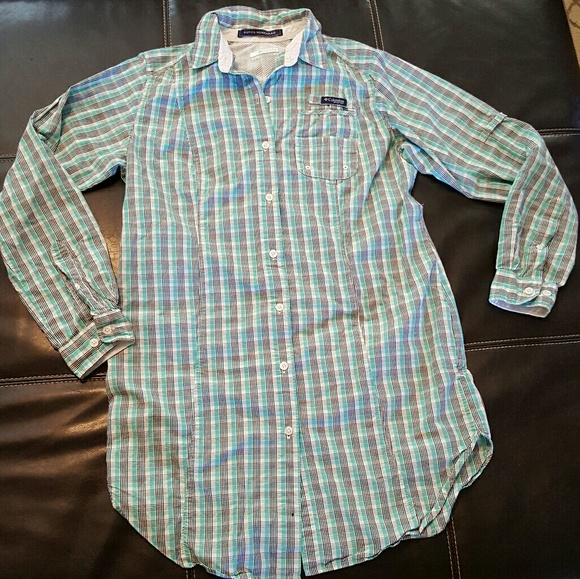 Columbia PFG Mens XL Super Bonehead Omni Shade Button Front Shirt Blue Plaid